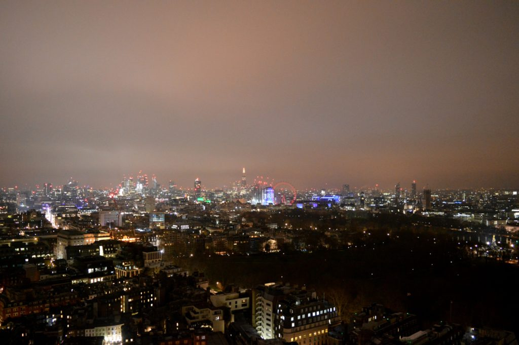 Night London view from rootops at Galvin at windows